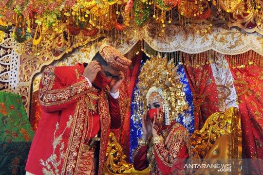 Resepsi pernikahan Minang saat penerapan era normal baru
