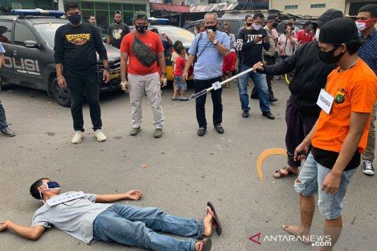 Polisi gelar rekonstruksi buronan yang kabur ke Cilacap usai tawuran
