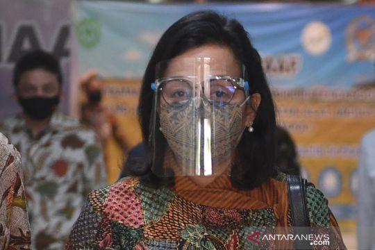 """Menkeu Sri Mulyani memakai """"face shield"""" saat rapat dengan DPR"""