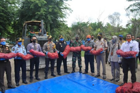 1.155 karung bawang merah ilegal asal Malaysia dimusnahkan