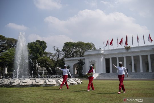 Latihan Penaikan Bendera Upacara HUT ke-75 RI mulai digelar di Istana