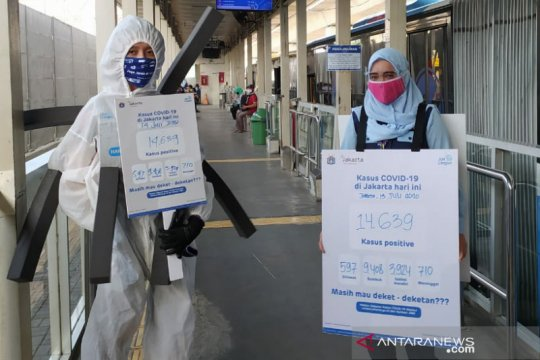 "TransJakarta hadirkan ""Manusia COVID"" ingatkan warga taati protokol"