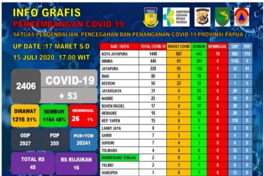 Positif COVID-19 di Papua terus bertambah jadi 2.406 orang