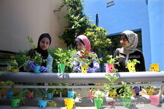 Remaja Palestina daur ulang limbah untuk tanam bunga