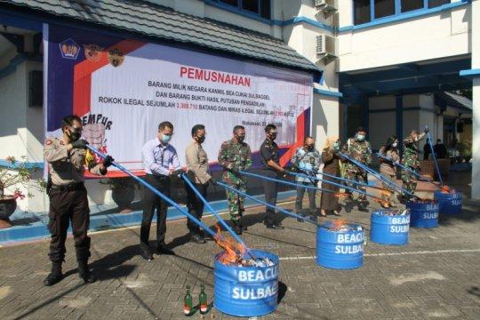 Bea Cukai Sulbagsel musnahkan 3,3 juta batang rokok ilegal