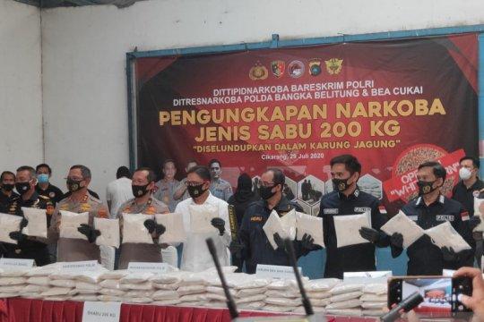 Polisi bekuk jaringan narkoba internasional, 200 kg sabu-sabu disita