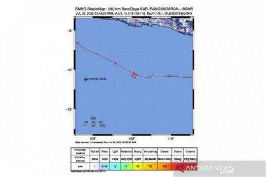 Gempa magnitudo 5,2 di Pangandaran tidak berpotensi tsunami