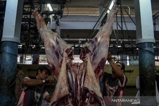 Pengurus Masjid Agung Karawang sembelih hewan kurban di RPH