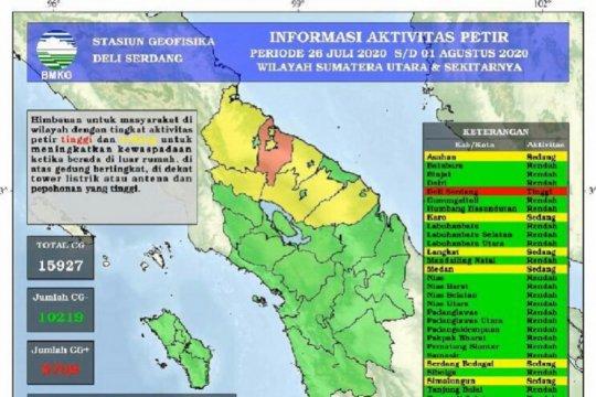 15.927 petir landa di Sumatera Utara akhir Juli