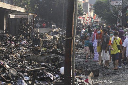 Sisa kebakaran Pasar Timbul Barat Tomang