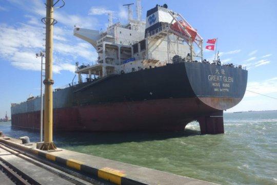 Kapal muatan 71.582 ton pakan ternak sandar di Terminal Teluk Lamong