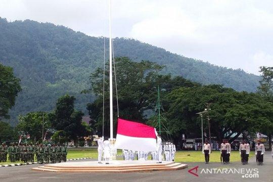 Upacara HUT ke-75 Kemerdekaan RI di Sangihe hanya dihadiri TNI-Polri