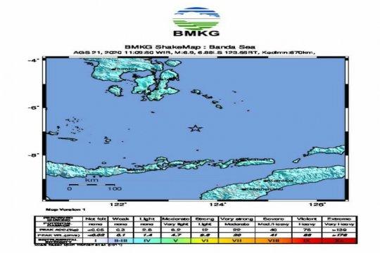 Gempa bumi magnitudo 5,3 guncang Banda
