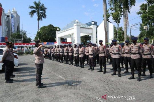 Dua SSK Brimob Sumut amankan aksi buruh tolak omnibus law di Medan