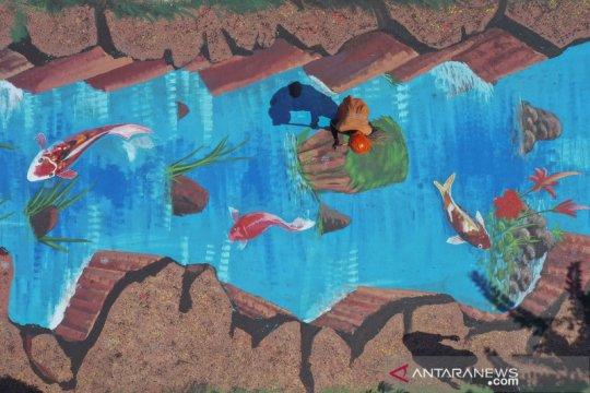 Mural tiga dimensi hiasi jalan menuju museum Basoeki Abdullah