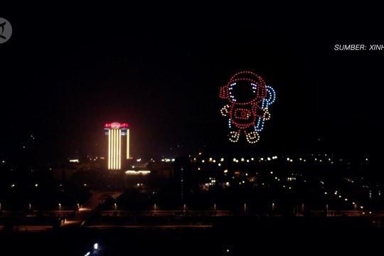 Sambut siswa kembali ke sekolah, pertunjukan cahaya drone digelar di Nanjing