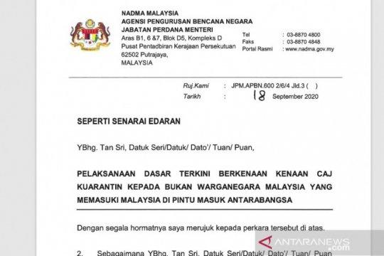 Malaysia mulai terapkan biaya karantina WNA Rp16 juta