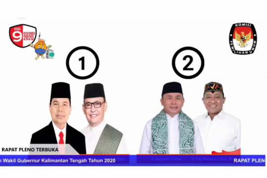KPU Kalteng tetapkan nomor urut dua paslon gubernur - wakil gubernur