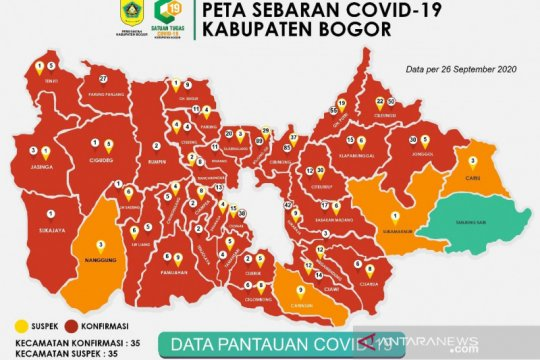 Kasus COVID-19 di Kabupaten Bogor cetak rekor dua hari berturut-turut