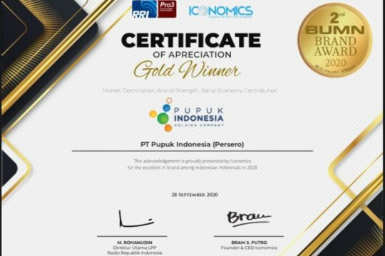 Pupuk Indonesia raih Gold Winner BUMN Brand Awards 2020