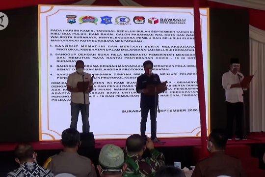 Bapaslon sepakat terapkan protokol kesehatan di Pilkada Surabaya
