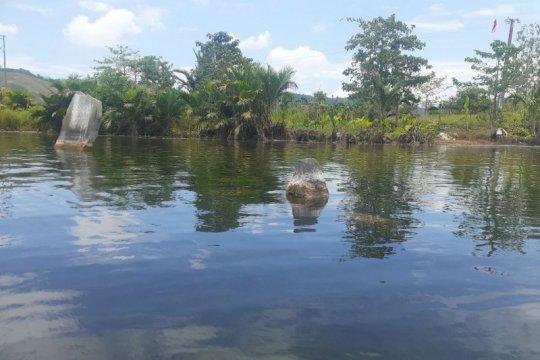 Danau Sentani surut, tinggalan megalitik menhir muncul ke permukaan