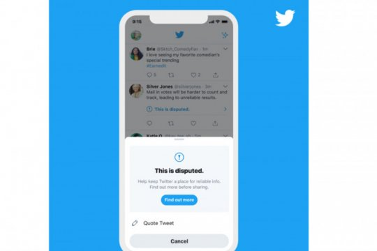 Twitter tambah lebih banyak label peringatan jelang pemilu AS