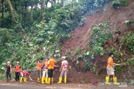 Petugas bersihkan pohon tumbang dan material longsor di jalur Gumitir