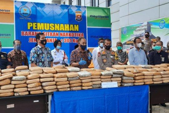BNNP Banten musnahkan barang bukti ganja 301 Kg