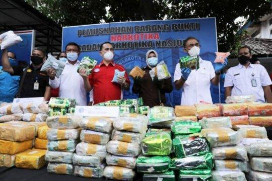 BNN musnahkan ratusan kilogram sabu-ekstasi hasil 11 pengungkapan