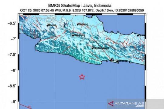 Gempa magnitudo 5,9 di Pangandaran tidak berpotensi tsunami