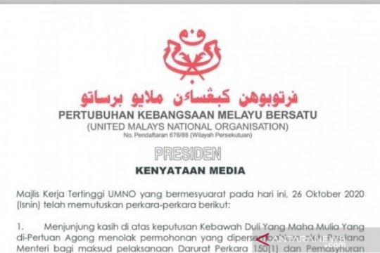 UMNO puji raja tolak usulan darurat PM Malaysia