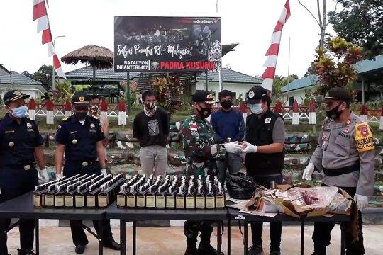 TNI AD gagalkan penyelundupan miras dan daging ilegal asal Malaysia