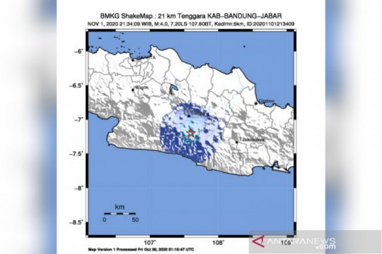 Kabupaten Bandung diguncang gempa berkekuatan 4 magnitudo