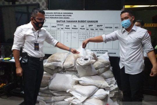 Ditpolairud Babel gagalkan penyelundupan 3,5 ton pasir timah