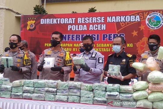 Polda Aceh gagalkan penyeludupan 81 kilogram sabu