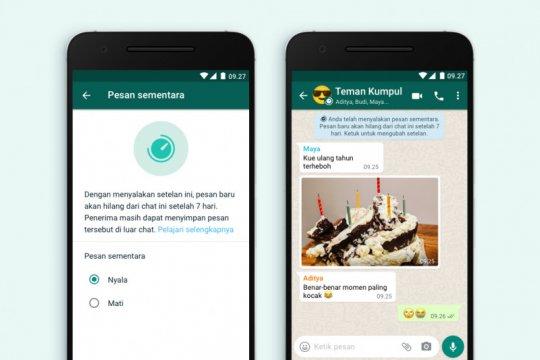 WhatsApp resmi meluncurkan pesan sementara