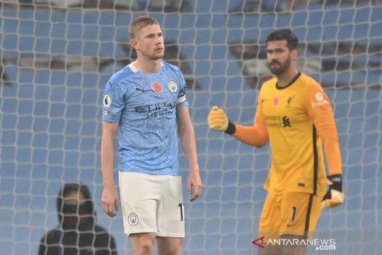 Kevin de Bruyne gagal konversi penalti, City vs Liverpool imbang 1-1