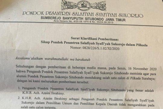 Ponpes Salafiyah Syafi'iyah bantah dukung paslon di Pilkada Surabaya