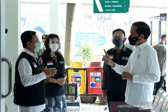 Presiden Jokowi tinjau simulasi vaksinasi COVID-19 di Bogor