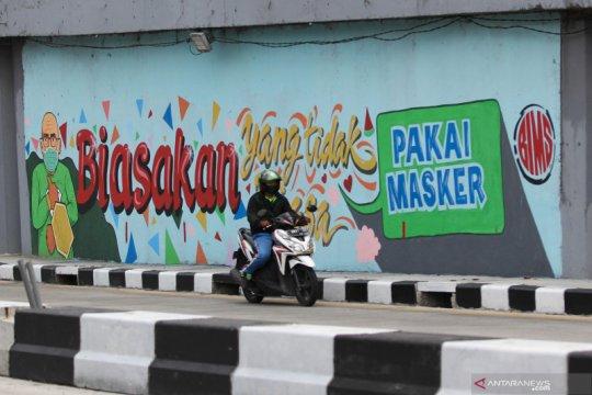 Kampanye protokol kesehatan melalui mural di dinding