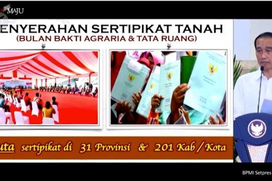 Presiden bagikan satu juta sertifikat lahan untuk warga di 31 provinsi