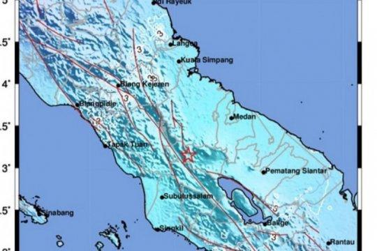 Gempa 5,2 magnitudo di Karo-Sumut tak berpotensi tsunami, sebut BMKG
