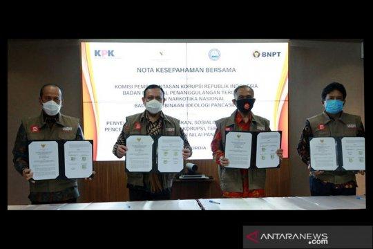 KPK sepakati tukar informasi upaya cegah korupsi dengan BNPT-BNN-BPIP