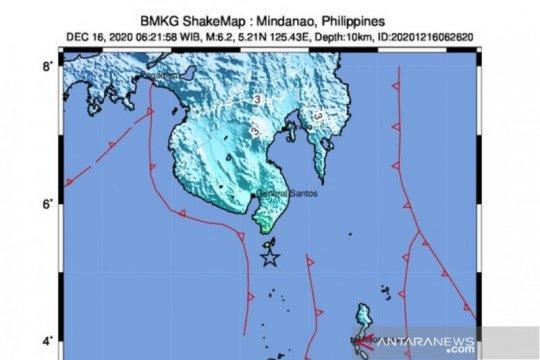 Gempa magnitudo 6,2 di Mindanao dirasakan hingga Tahuna Sulut