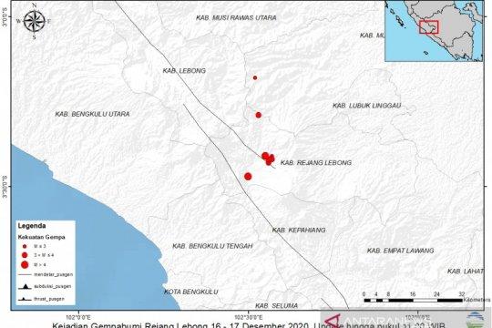 Rentetan gempa kerak dangkal guncang Curup Bengkulu