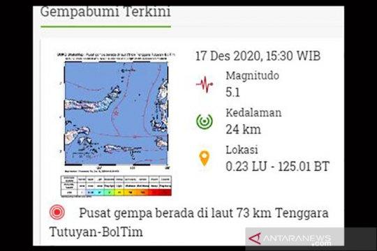 Gempa magnitudo 5,1 guncang tenggara Tutuyan-Sulut