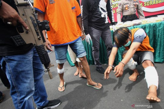Polisi berhasil gagalkan peredaran 21,4 kilogram sabu di Surabaya