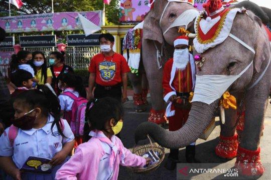 Keunikan gajah berpakaian Sinterklas bagi-bagi masker pelindung wajah di Thailand
