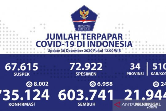 Kasus positif COVID-19 Indonesia bertambah 8.002, jadi 735.124 kasus